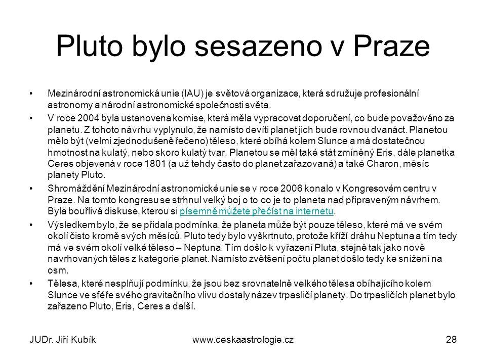 Pluto bylo sesazeno v Praze