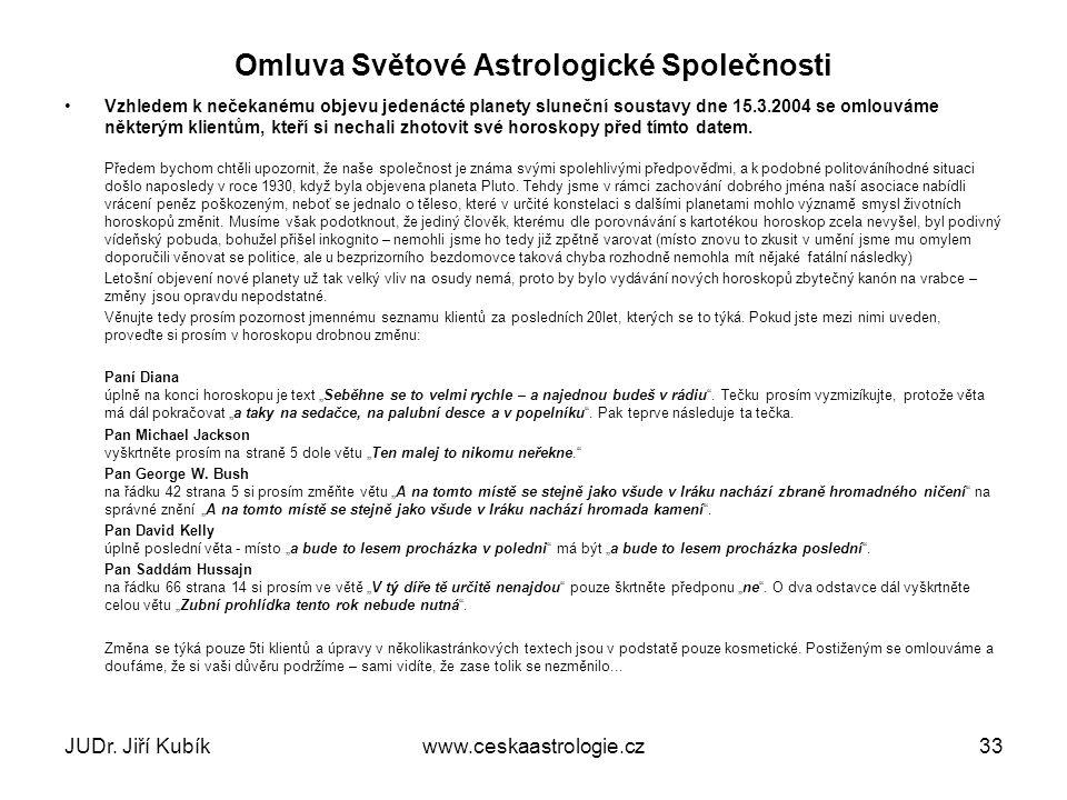 Omluva Světové Astrologické Společnosti
