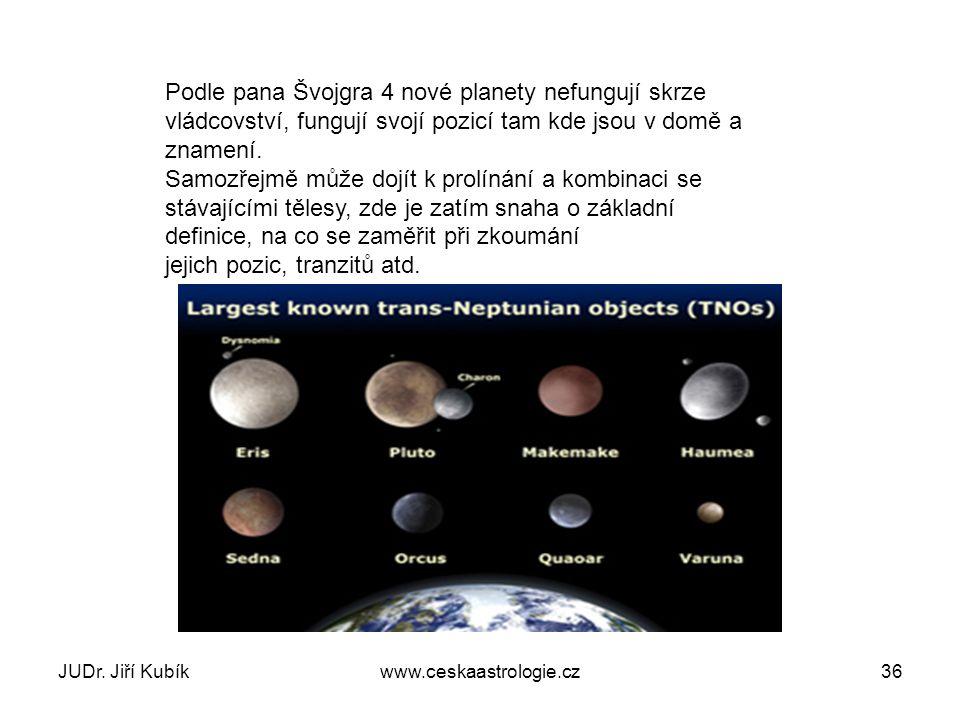 Podle pana Švojgra 4 nové planety nefungují skrze vládcovství, fungují svojí pozicí tam kde jsou v domě a znamení. Samozřejmě může dojít k prolínání a kombinaci se stávajícími tělesy, zde je zatím snaha o základní definice, na co se zaměřit při zkoumání jejich pozic, tranzitů atd.