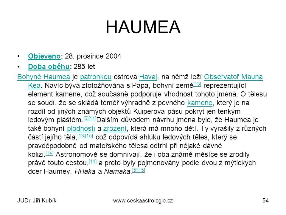 HAUMEA Objeveno: 28. prosince 2004 Doba oběhu: 285 let