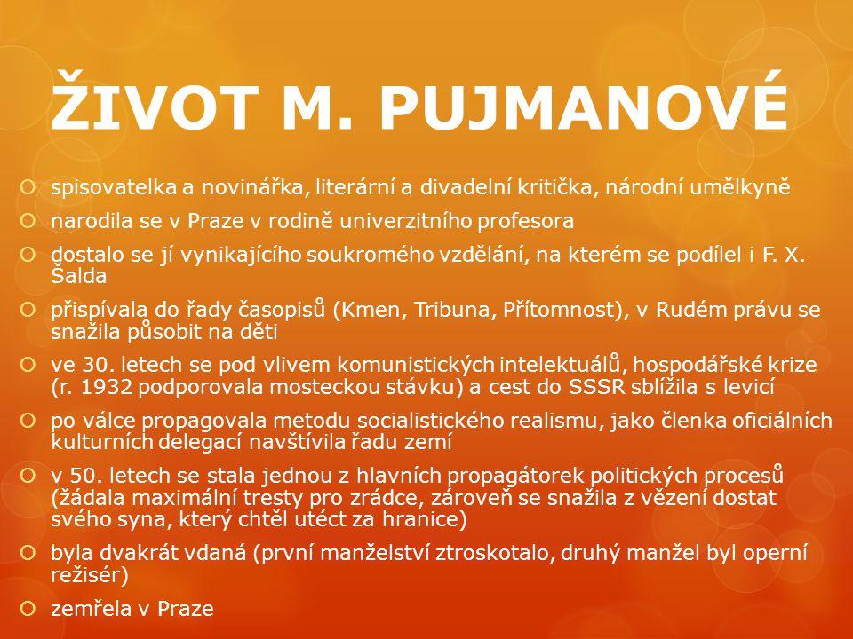 ŽIVOT M. PUJMANOVÉ spisovatelka a novinářka, literární a divadelní kritička, národní umělkyně. narodila se v Praze v rodině univerzitního profesora.