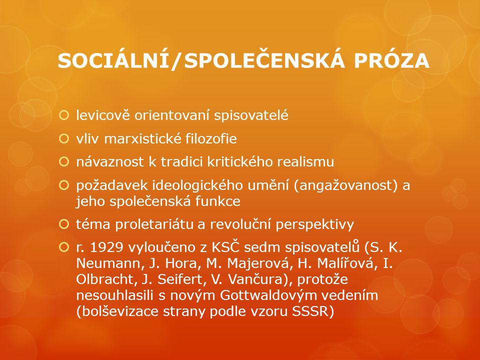SOCIÁLNÍ/SPOLEČENSKÁ PRÓZA