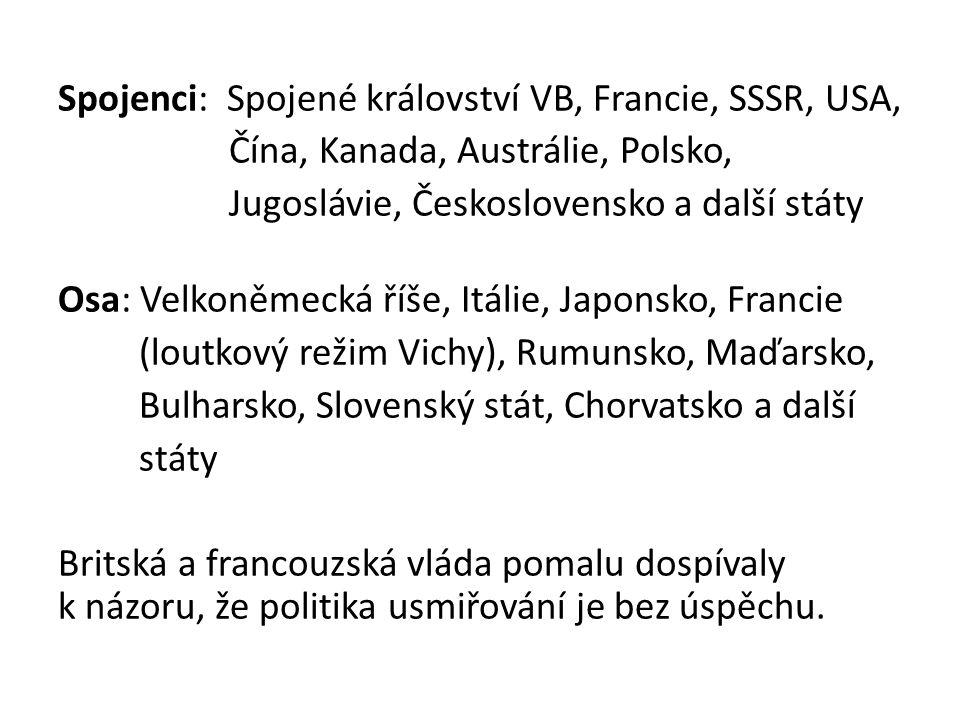Spojenci: Spojené království VB, Francie, SSSR, USA, Čína, Kanada, Austrálie, Polsko, Jugoslávie, Československo a další státy Osa: Velkoněmecká říše, Itálie, Japonsko, Francie (loutkový režim Vichy), Rumunsko, Maďarsko, Bulharsko, Slovenský stát, Chorvatsko a další státy Britská a francouzská vláda pomalu dospívaly k názoru, že politika usmiřování je bez úspěchu.