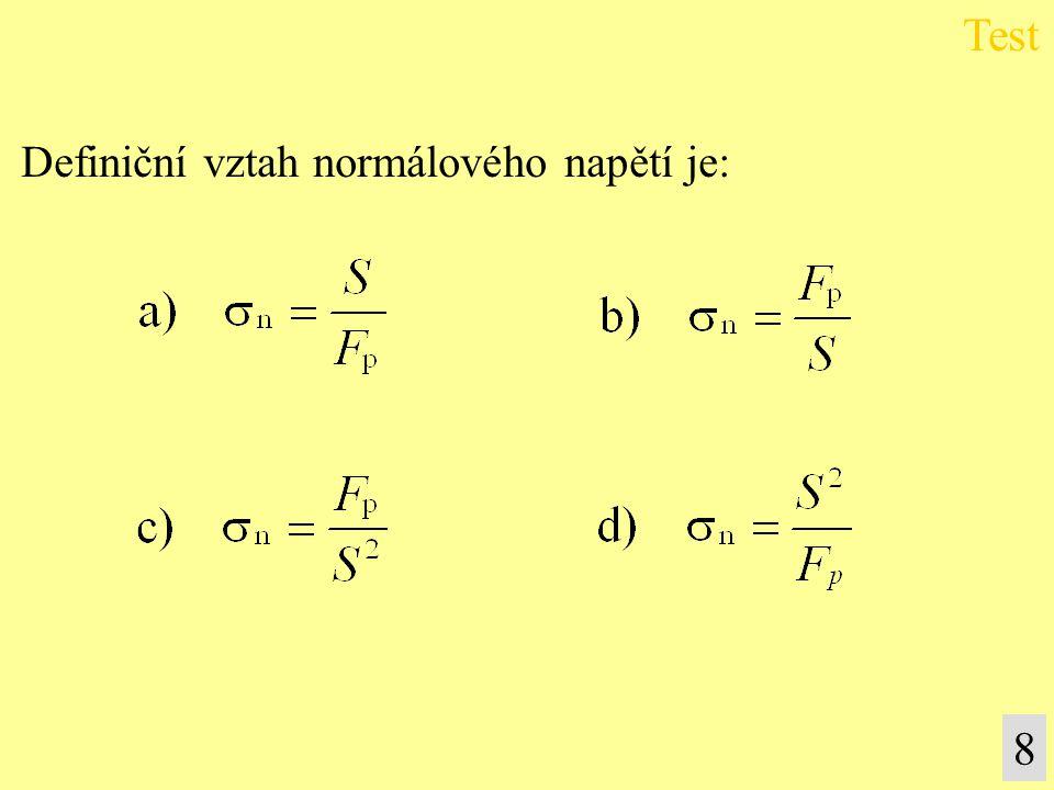 Test Definiční vztah normálového napětí je: 8