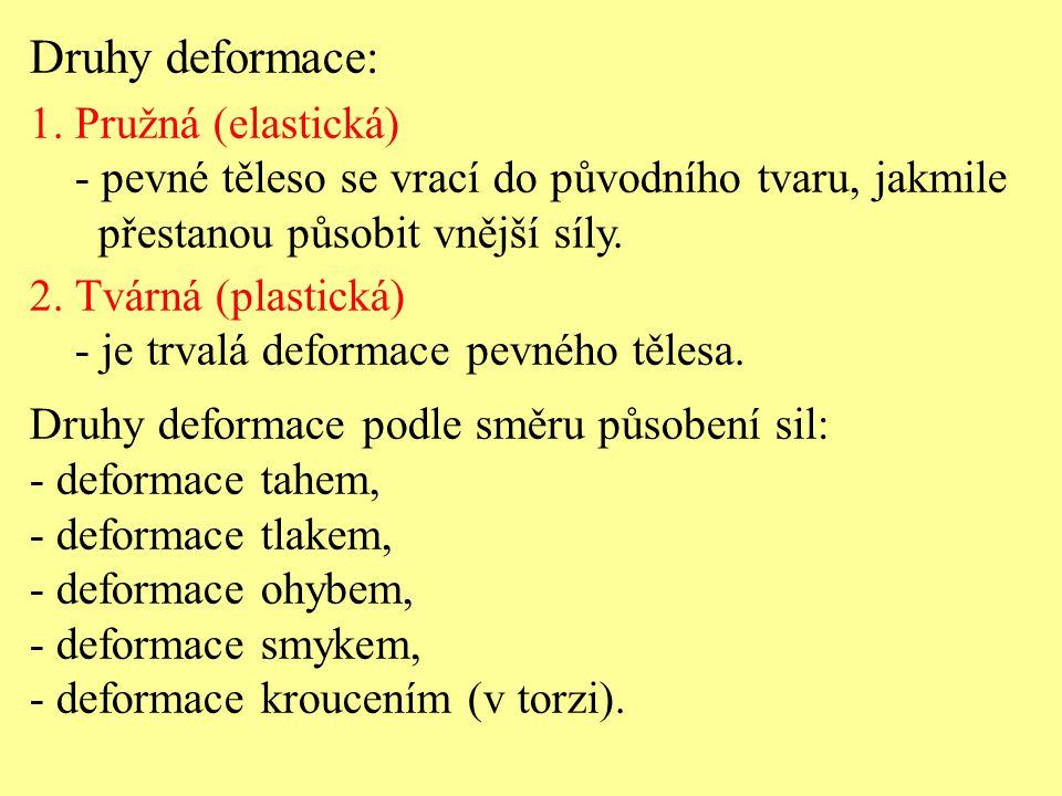 Druhy deformace: 1. Pružná (elastická)