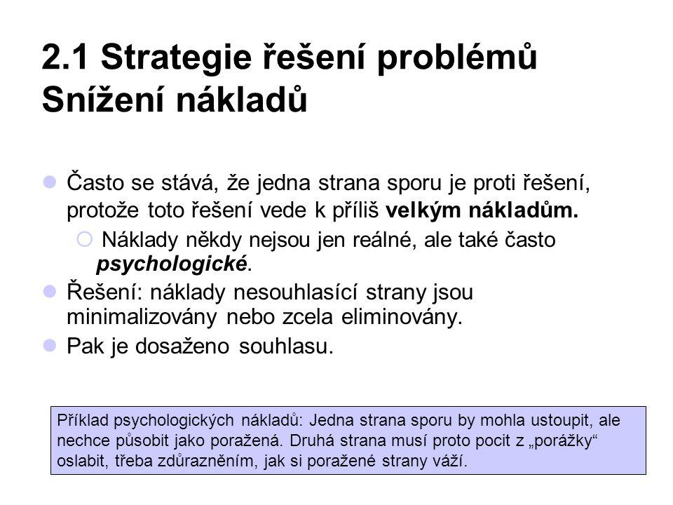 2.1 Strategie řešení problémů Snížení nákladů