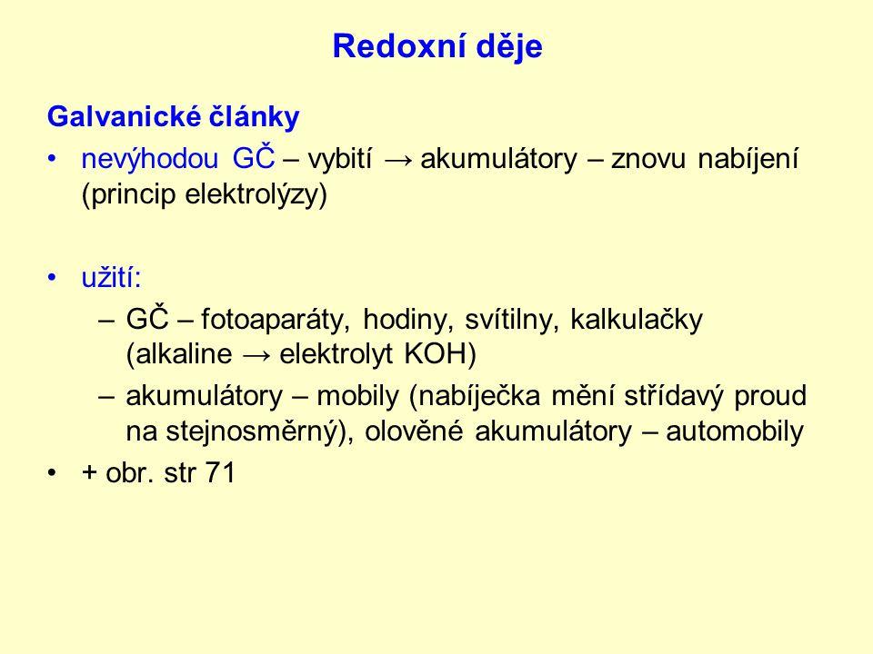 Redoxní děje Galvanické články