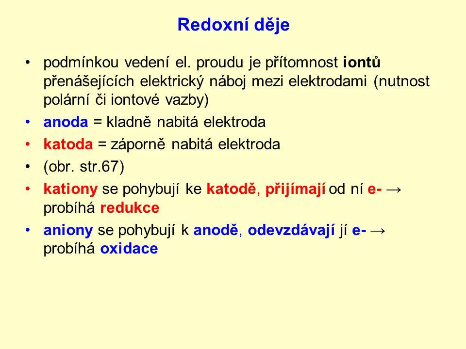 Redoxní děje podmínkou vedení el. proudu je přítomnost iontů přenášejících elektrický náboj mezi elektrodami (nutnost polární či iontové vazby)