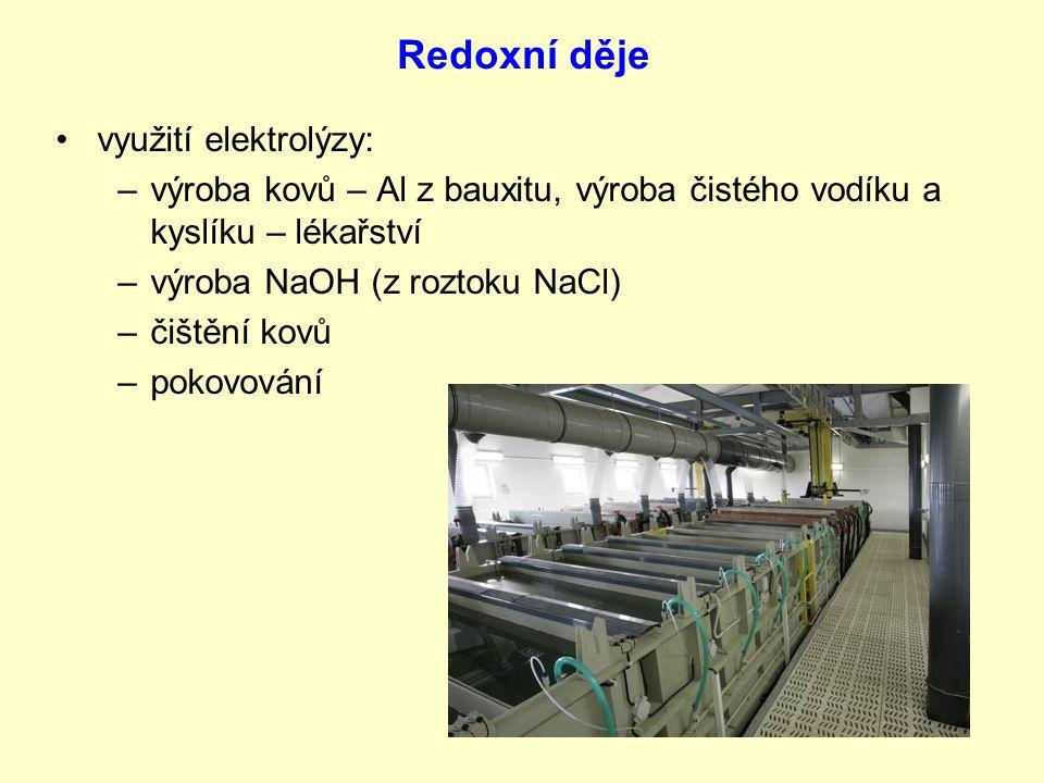 Redoxní děje využití elektrolýzy: