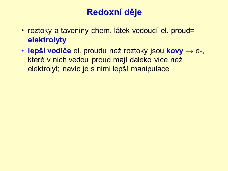 Redoxní děje roztoky a taveniny chem. látek vedoucí el. proud= elektrolyty.