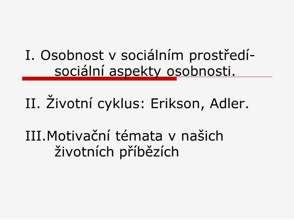 I. Osobnost v sociálním prostředí-. sociální aspekty osobnosti. II