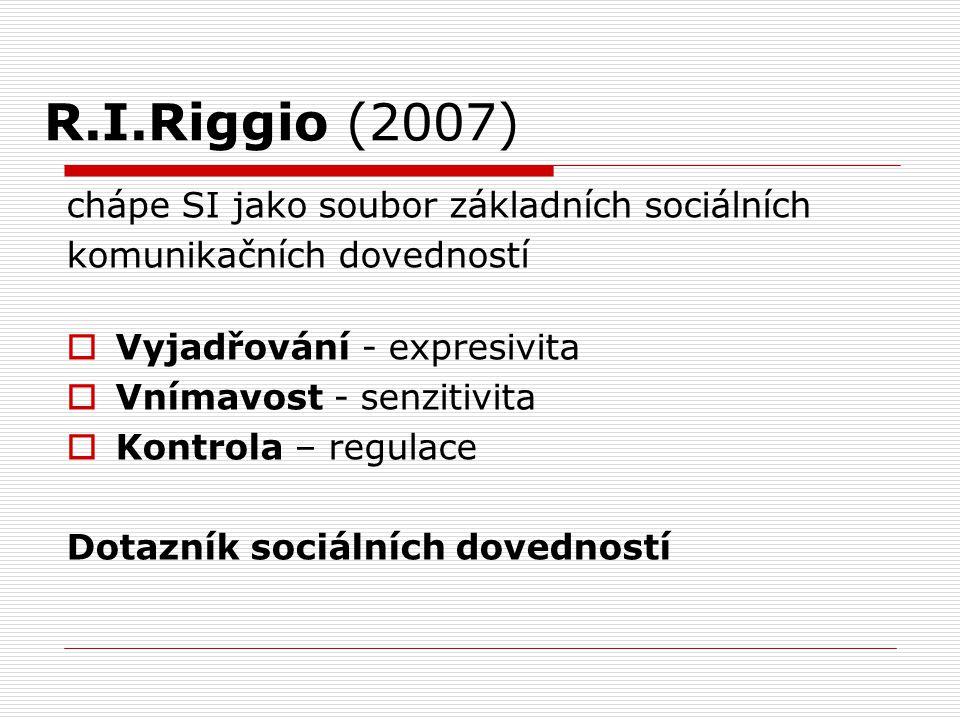 R.I.Riggio (2007) chápe SI jako soubor základních sociálních