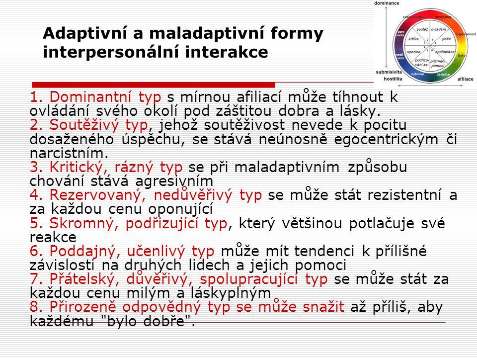 Adaptivní a maladaptivní formy interpersonální interakce