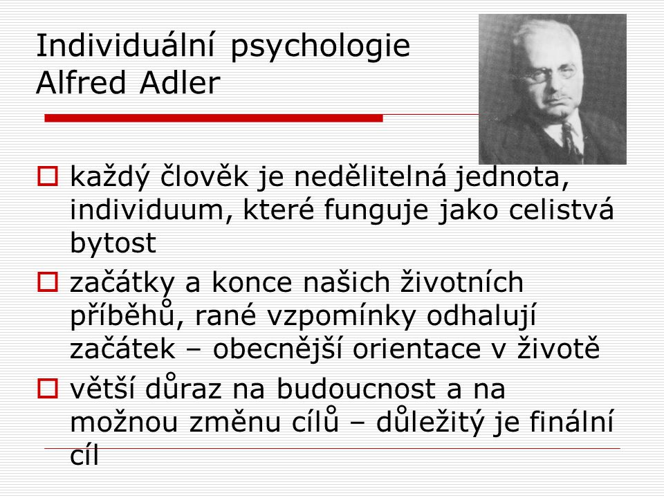 Individuální psychologie Alfred Adler