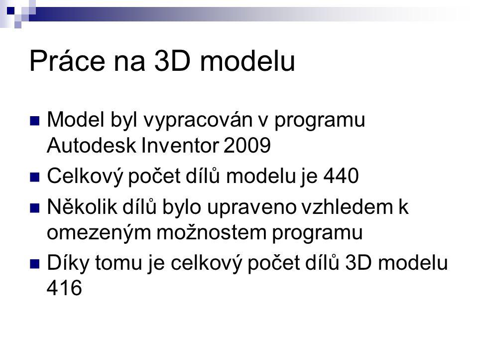 Práce na 3D modelu Model byl vypracován v programu Autodesk Inventor 2009. Celkový počet dílů modelu je 440.