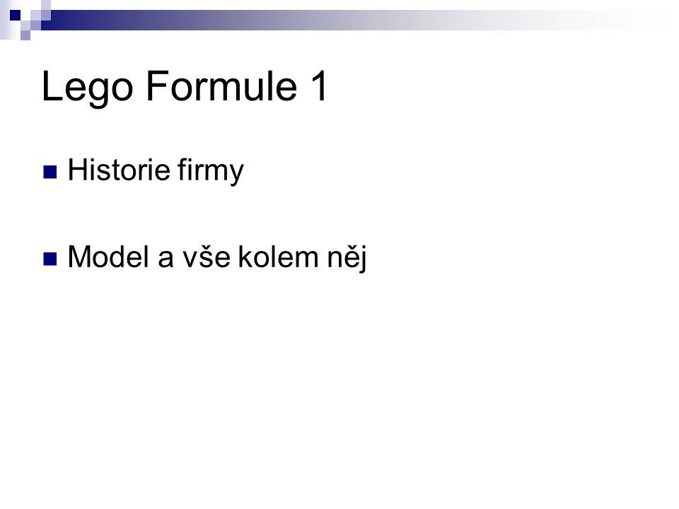 Lego Formule 1 Historie firmy Model a vše kolem něj