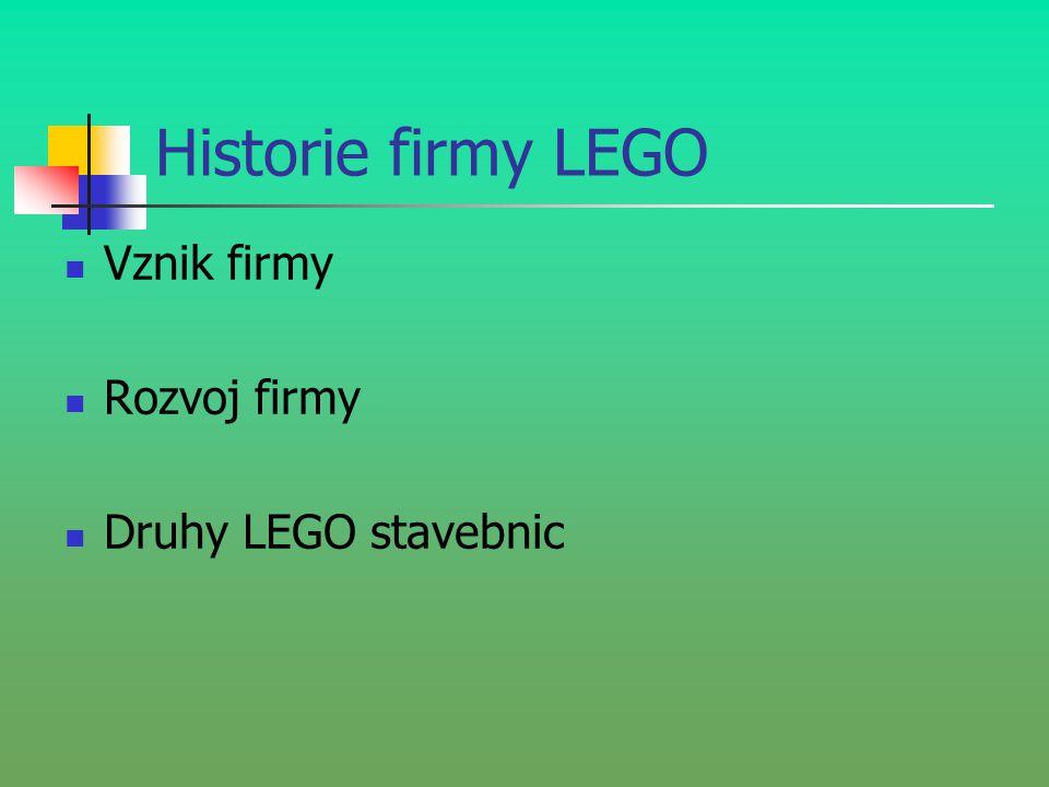 Historie firmy LEGO Vznik firmy Rozvoj firmy Druhy LEGO stavebnic