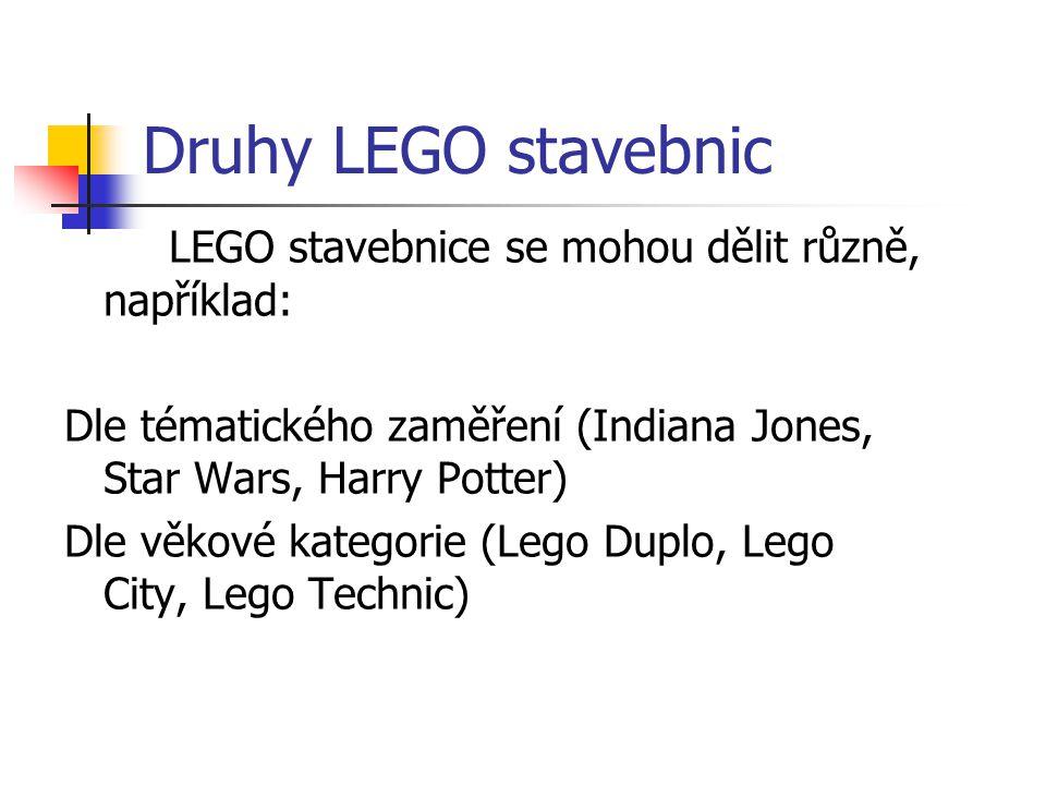 Druhy LEGO stavebnic LEGO stavebnice se mohou dělit různě, například:
