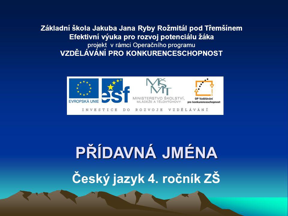 PŘÍDAVNÁ JMÉNA Český jazyk 4. ročník ZŠ