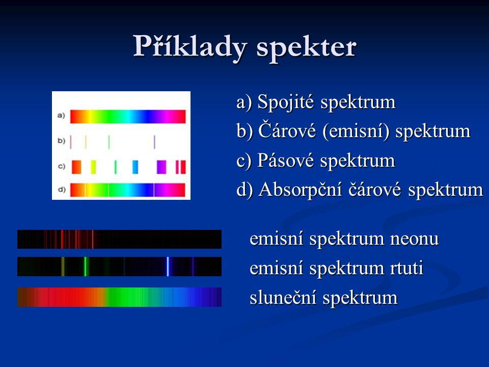 Příklady spekter a) Spojité spektrum b) Čárové (emisní) spektrum