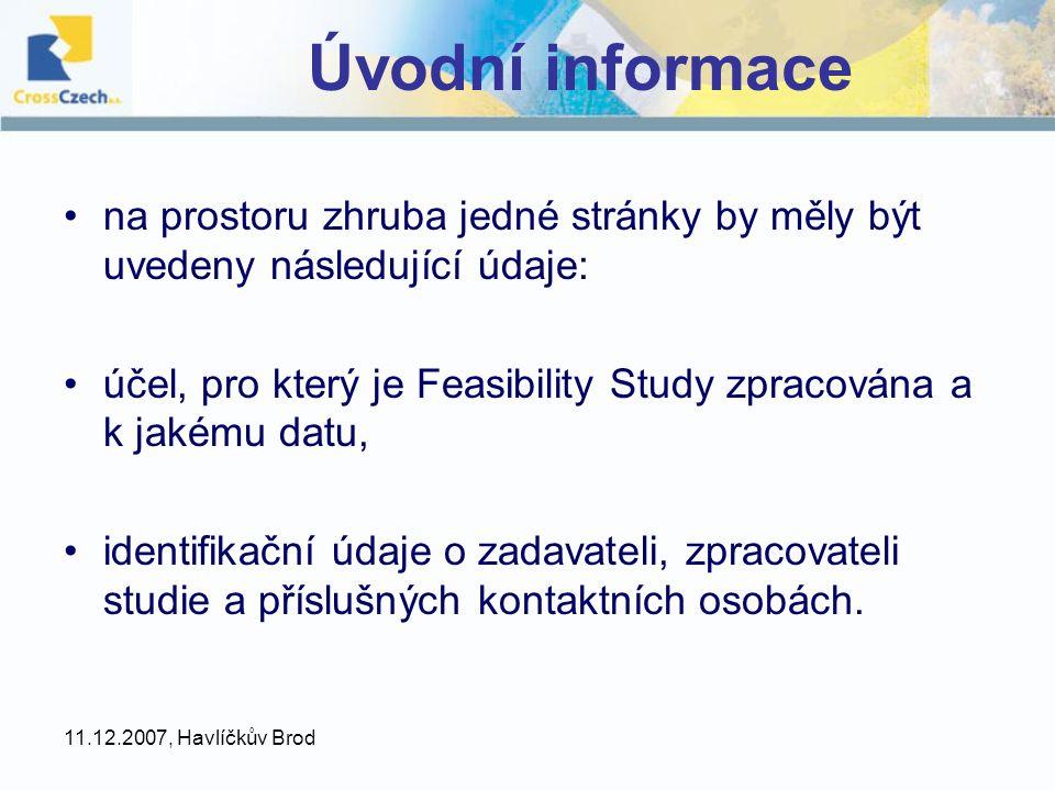 Úvodní informace na prostoru zhruba jedné stránky by měly být uvedeny následující údaje: