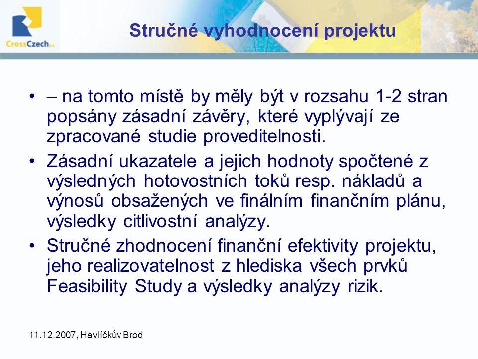 Stručné vyhodnocení projektu