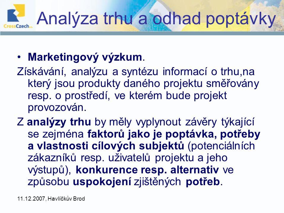 Analýza trhu a odhad poptávky