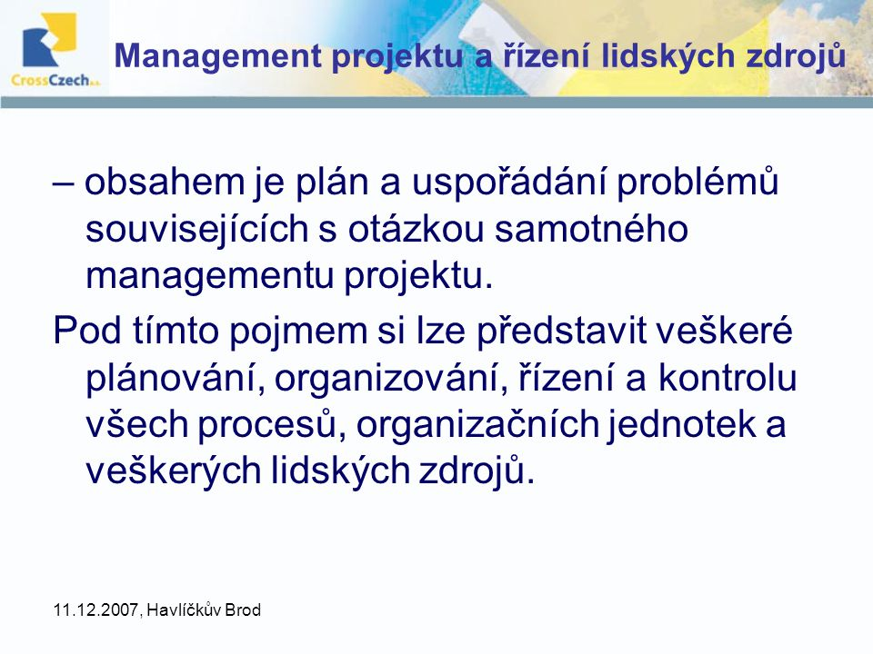 Management projektu a řízení lidských zdrojů