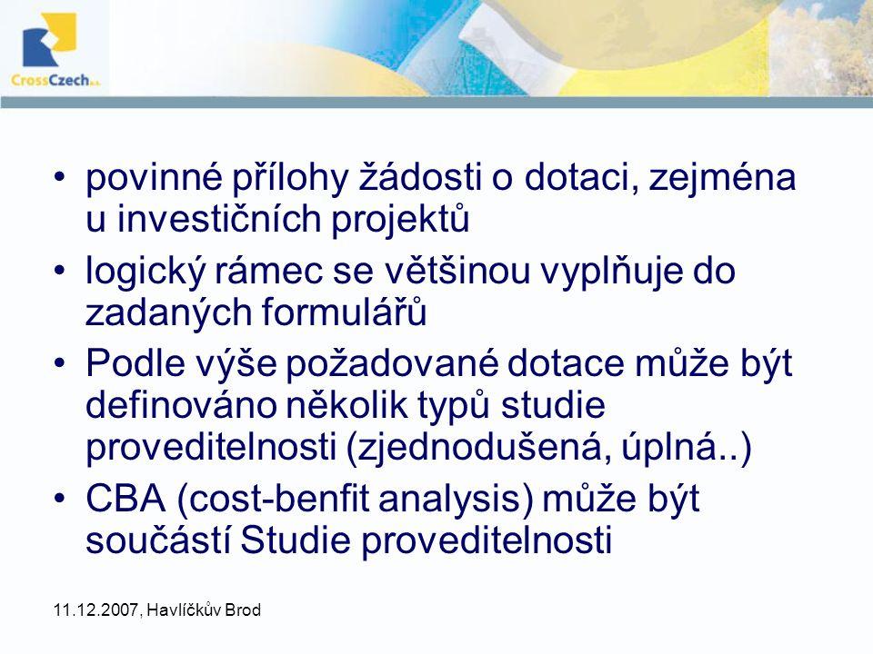 povinné přílohy žádosti o dotaci, zejména u investičních projektů