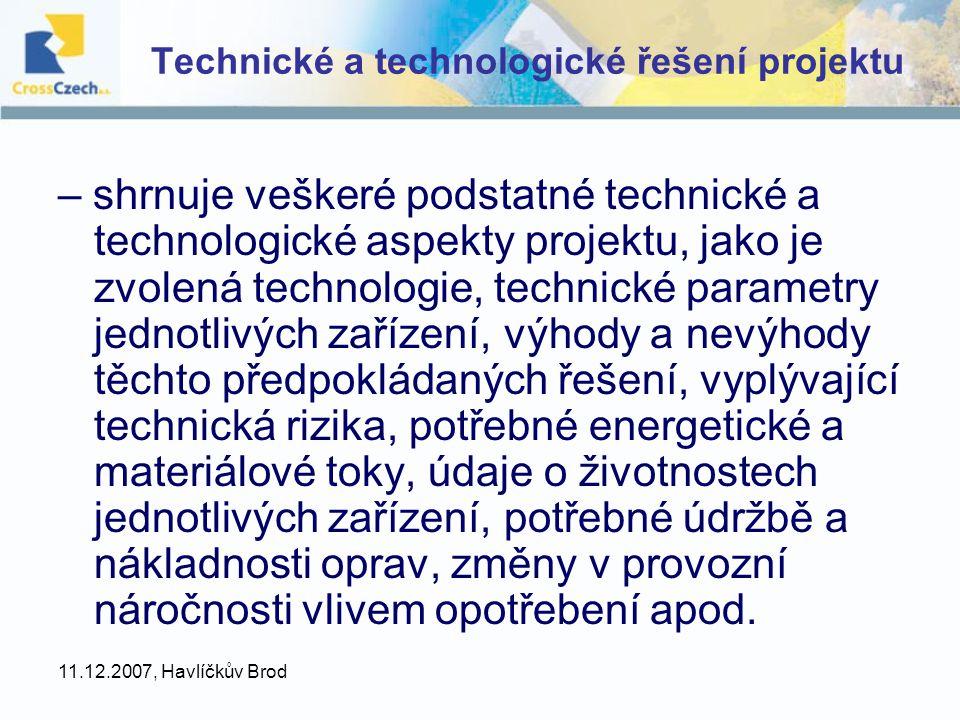 Technické a technologické řešení projektu