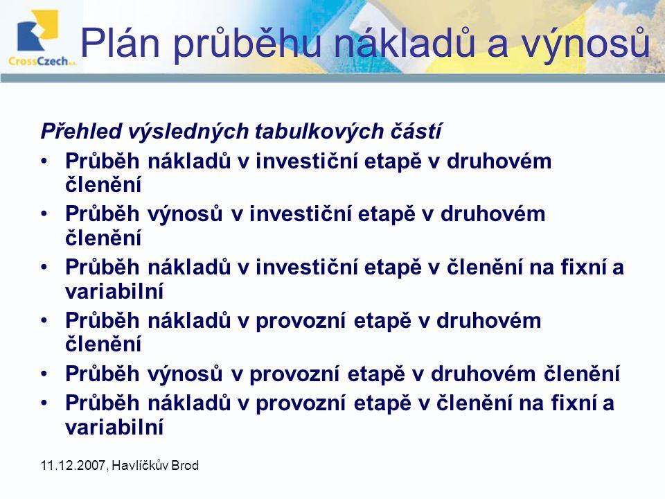 Plán průběhu nákladů a výnosů