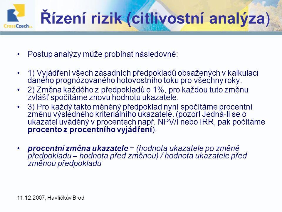 Řízení rizik (citlivostní analýza)