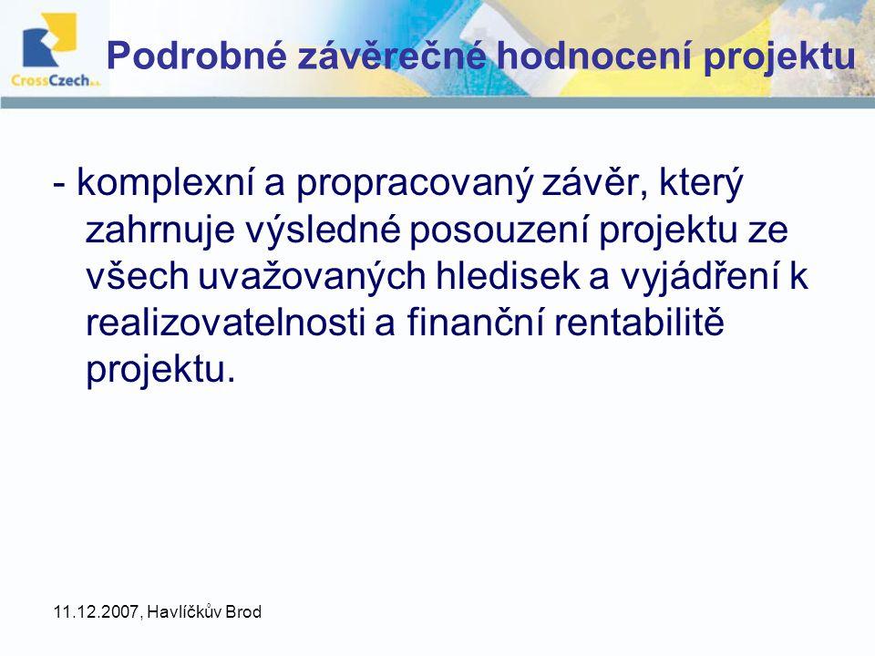 Podrobné závěrečné hodnocení projektu