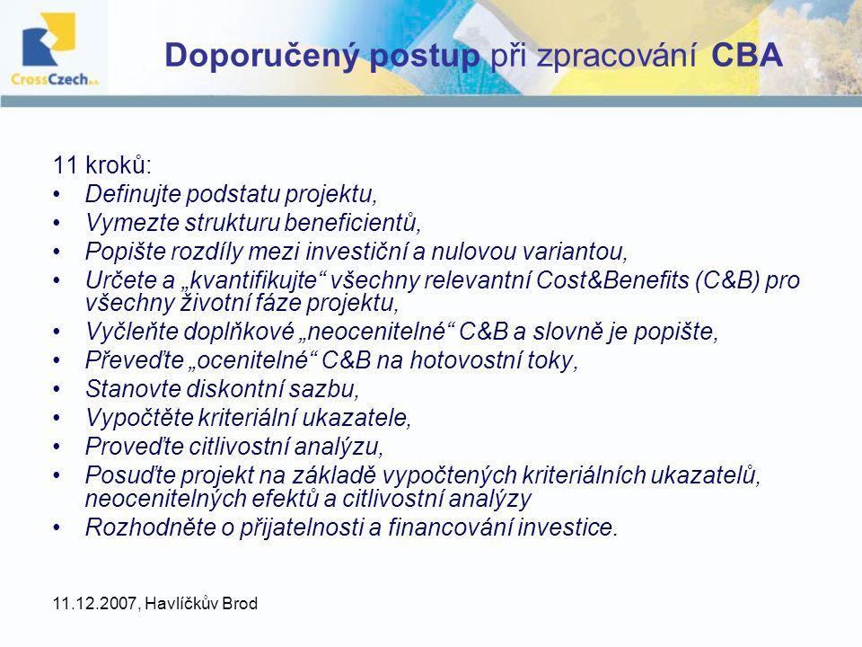 Doporučený postup při zpracování CBA