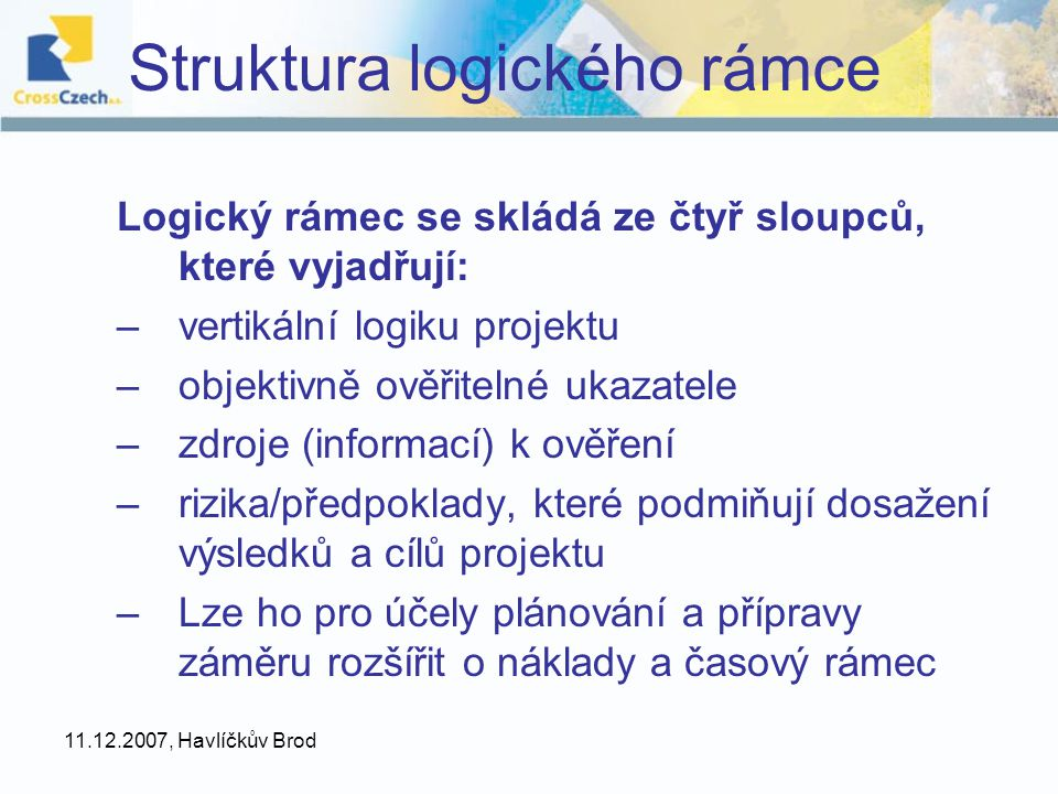 Struktura logického rámce