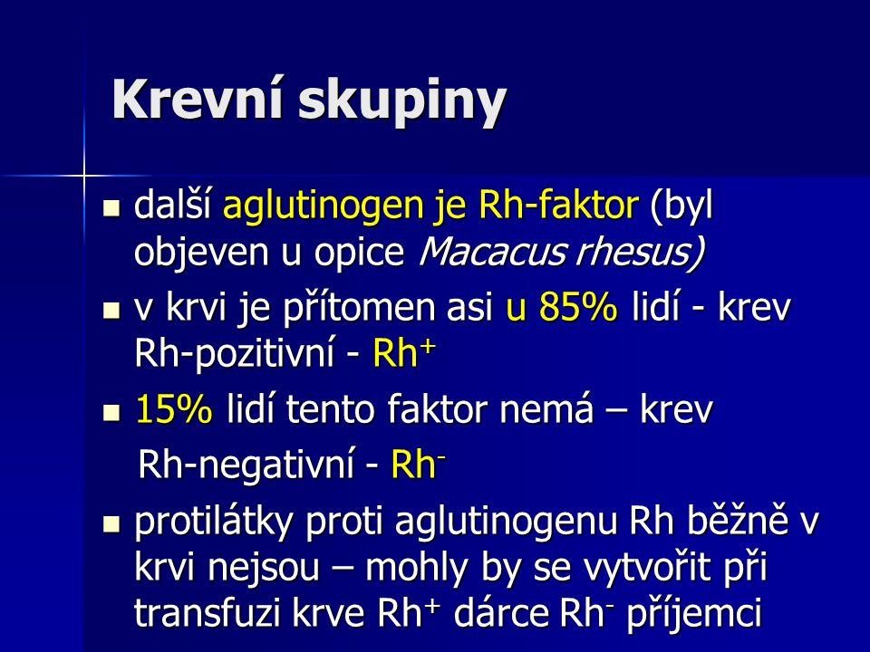 Krevní skupiny další aglutinogen je Rh-faktor (byl objeven u opice Macacus rhesus) v krvi je přítomen asi u 85% lidí - krev Rh-pozitivní - Rh+