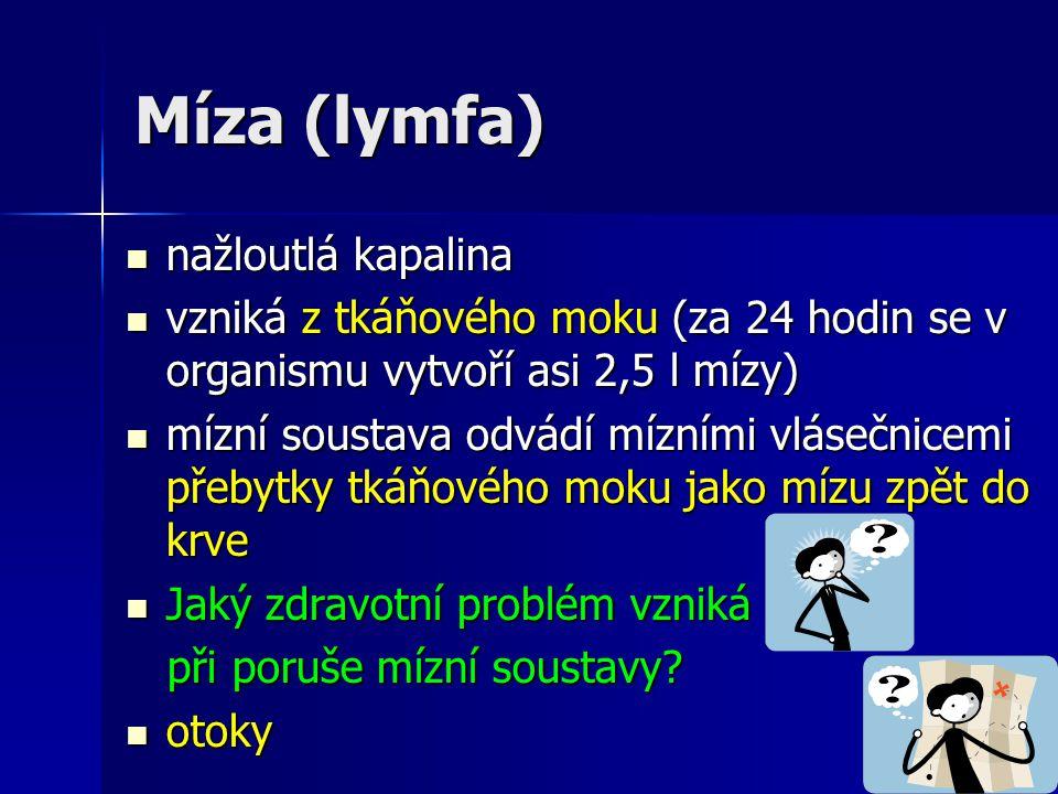 Míza (lymfa) nažloutlá kapalina