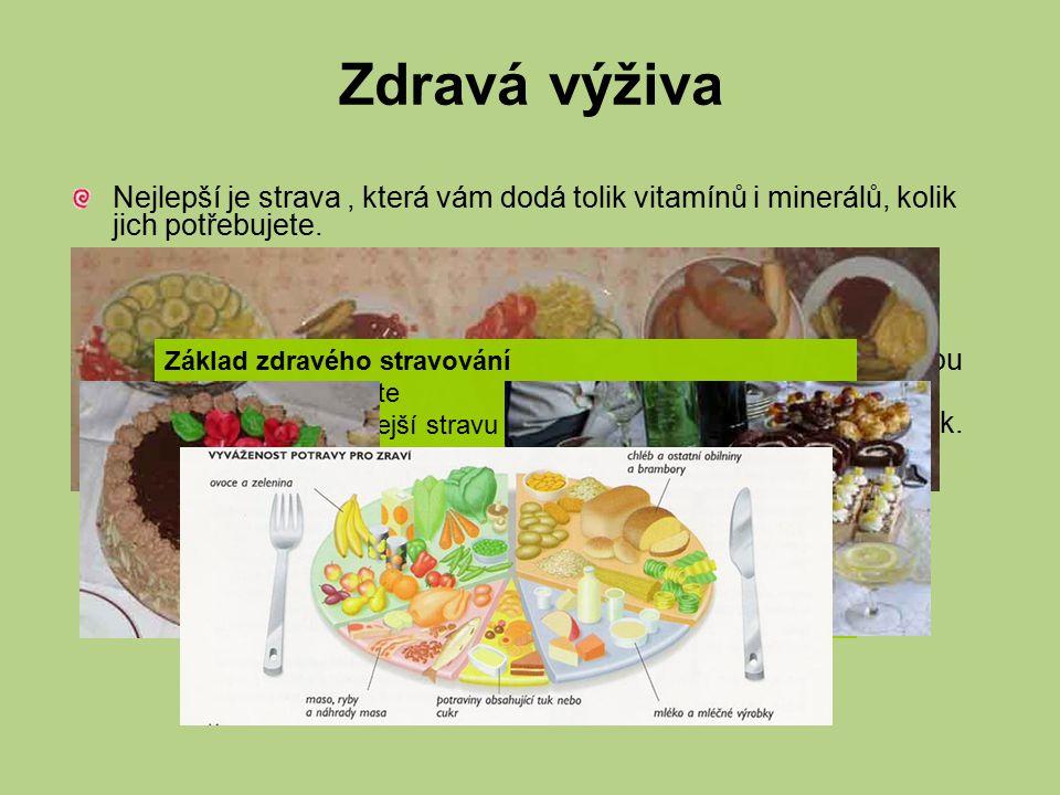 Zdravá výživa Nejlepší je strava , která vám dodá tolik vitamínů i minerálů, kolik jich potřebujete.