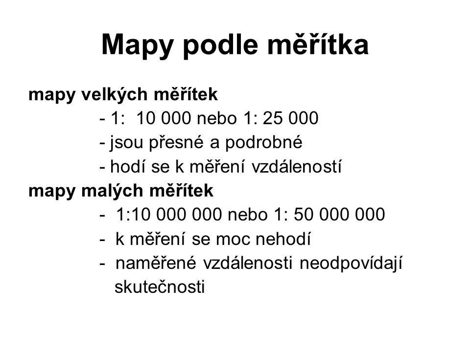 Mapy podle měřítka mapy velkých měřítek - 1: 10 000 nebo 1: 25 000