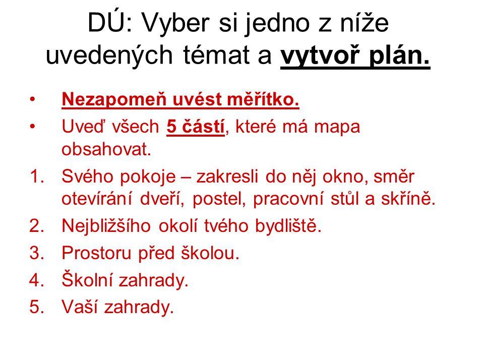 DÚ: Vyber si jedno z níže uvedených témat a vytvoř plán.