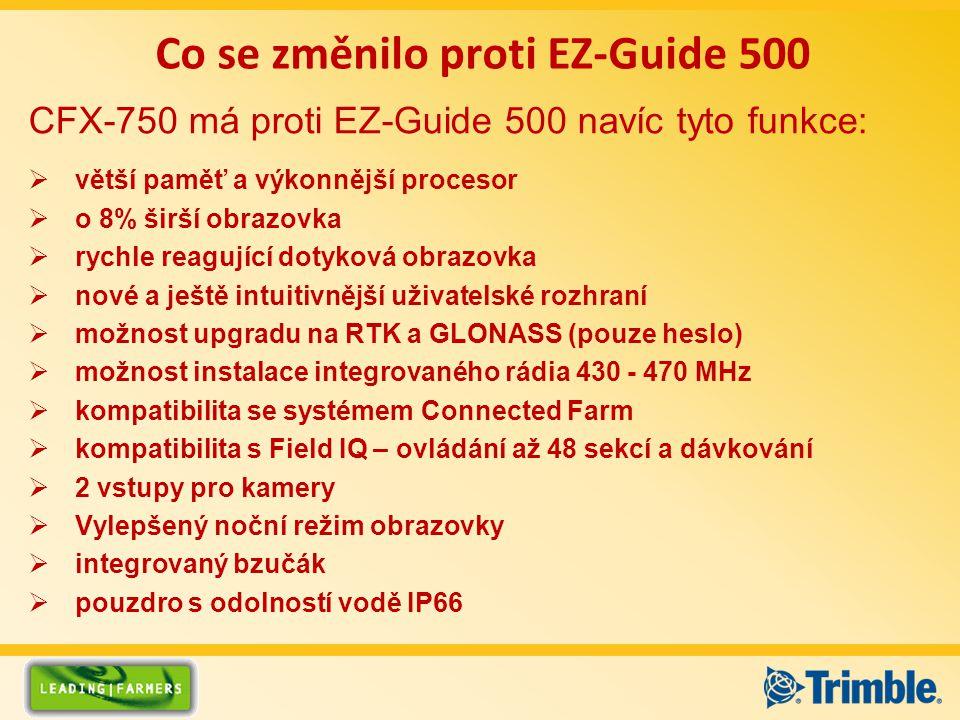 Co se změnilo proti EZ-Guide 500