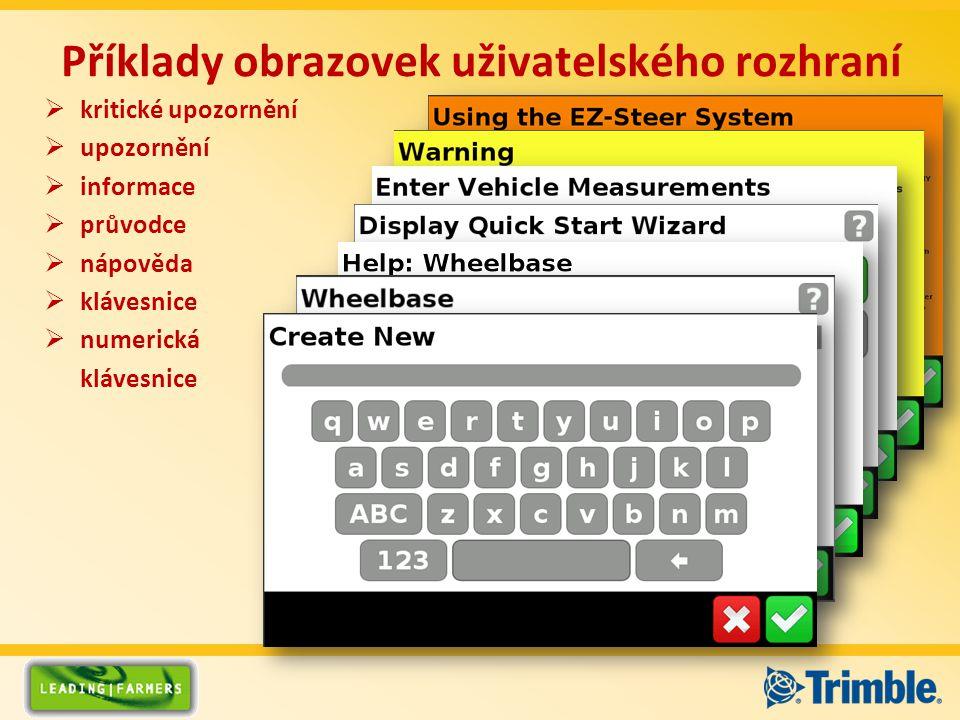 Příklady obrazovek uživatelského rozhraní