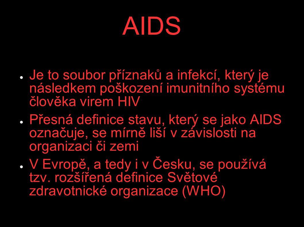AIDS Je to soubor příznaků a infekcí, který je následkem poškození imunitního systému člověka virem HIV.
