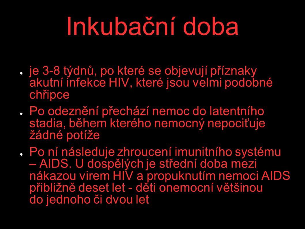 Inkubační doba je 3-8 týdnů, po které se objevují příznaky akutní infekce HIV, které jsou velmi podobné chřipce.