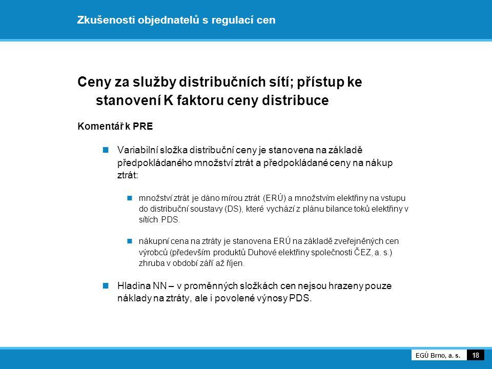 Zkušenosti objednatelů s regulací cen