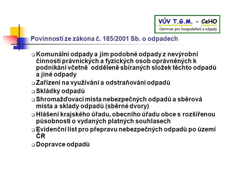 Povinnosti ze zákona č. 185/2001 Sb. o odpadech
