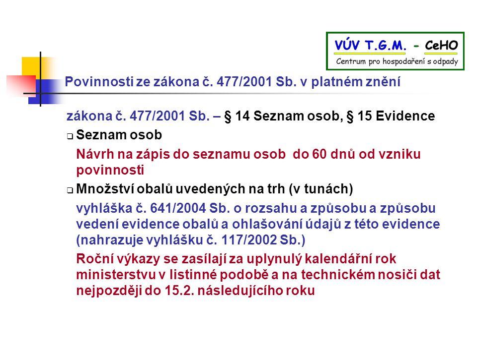 Povinnosti ze zákona č. 477/2001 Sb. v platném znění