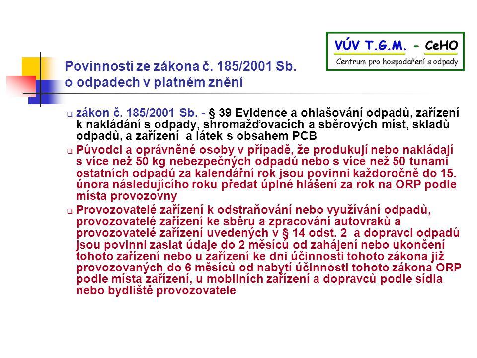 Povinnosti ze zákona č. 185/2001 Sb. o odpadech v platném znění