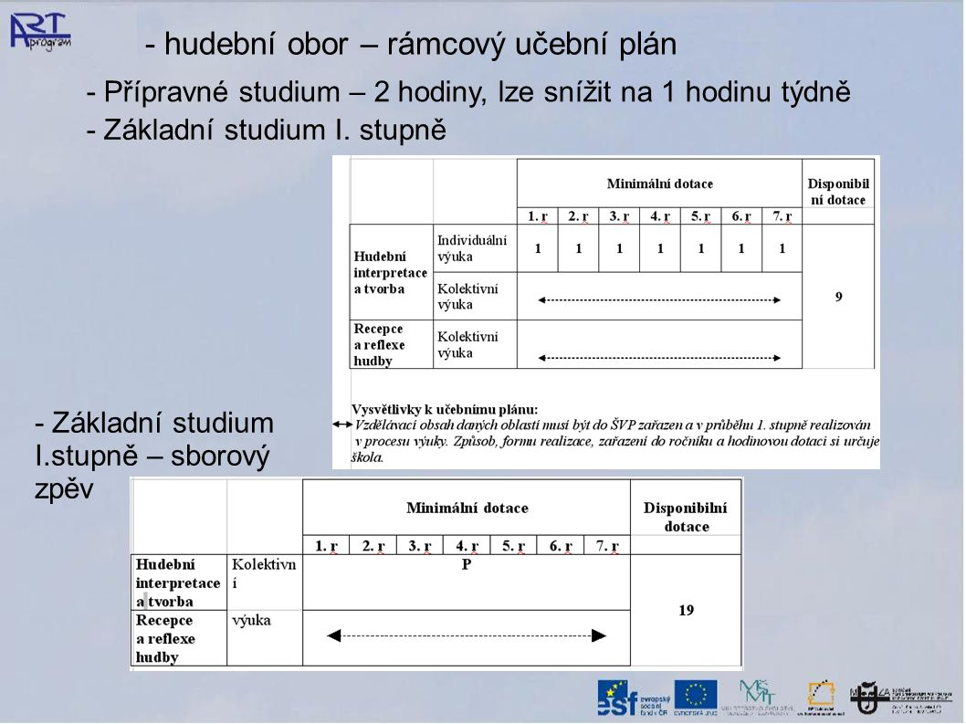 - hudební obor – rámcový učební plán