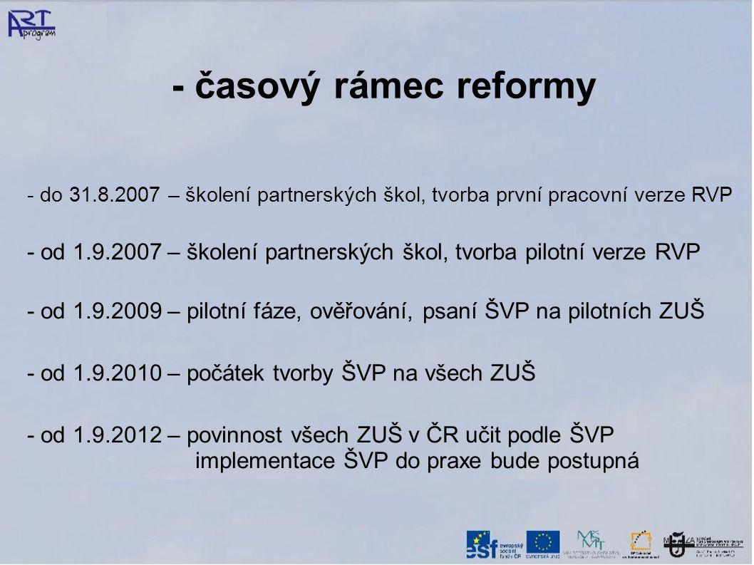 - časový rámec reformy - do 31.8.2007 – školení partnerských škol, tvorba první pracovní verze RVP.